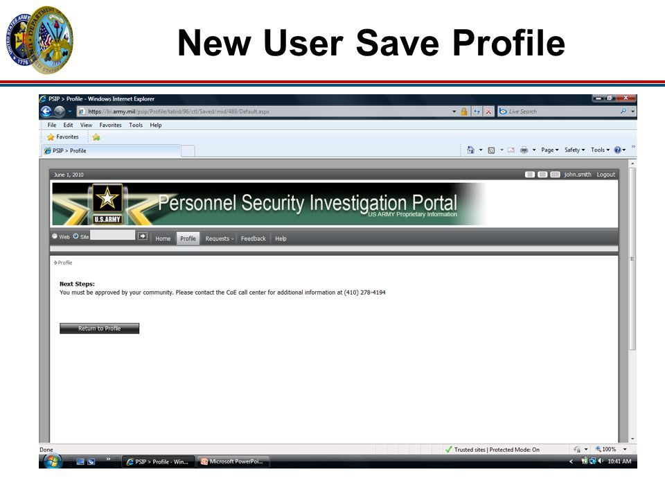New User Save Profile