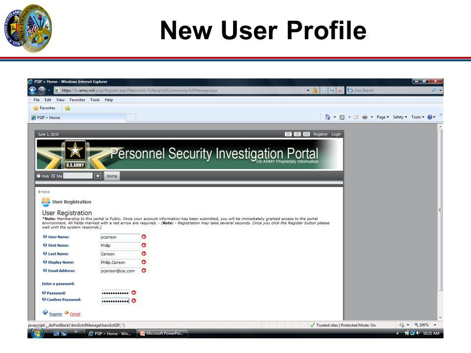 New User Profile