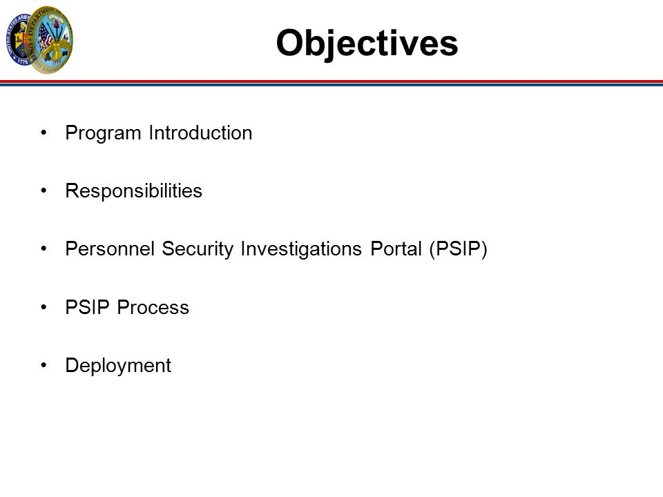Objectives Program Introduction Responsibilities
