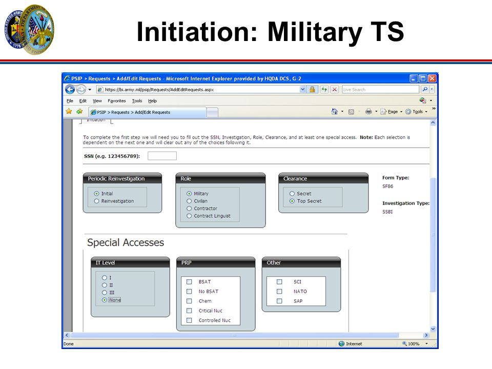 Initiation: Military TS