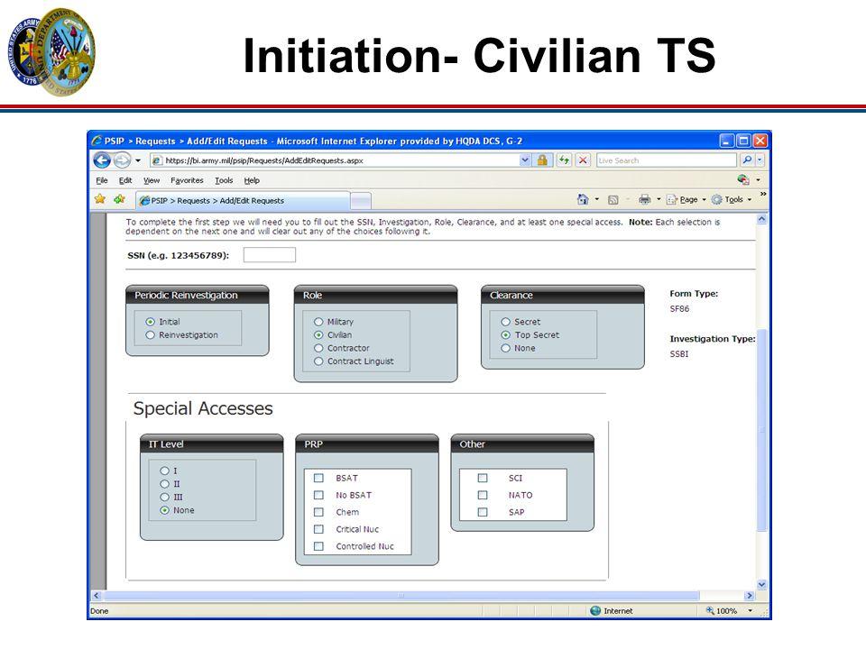 Initiation- Civilian TS