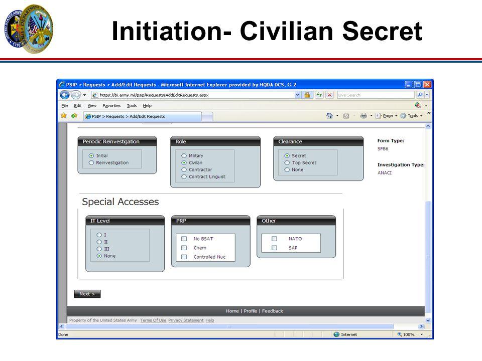 Initiation- Civilian Secret