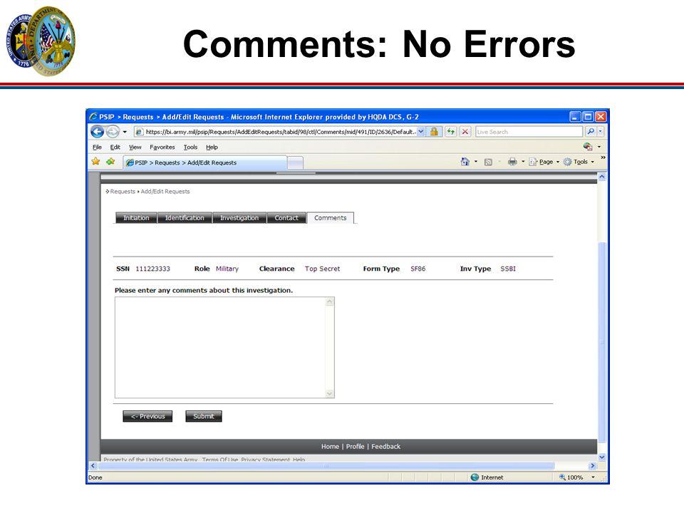 Comments: No Errors