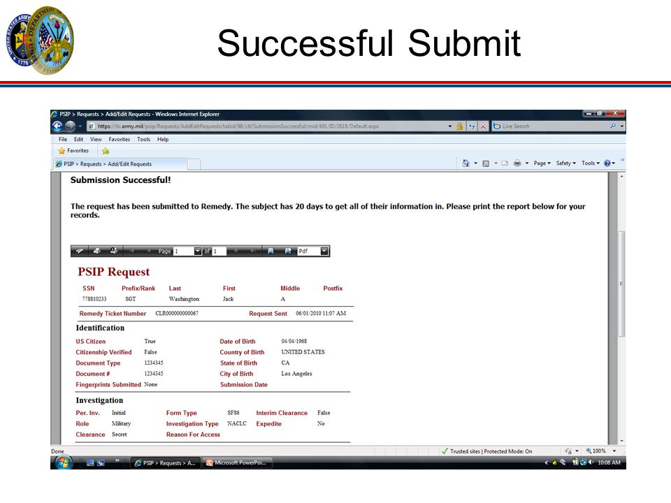 Successful Submit