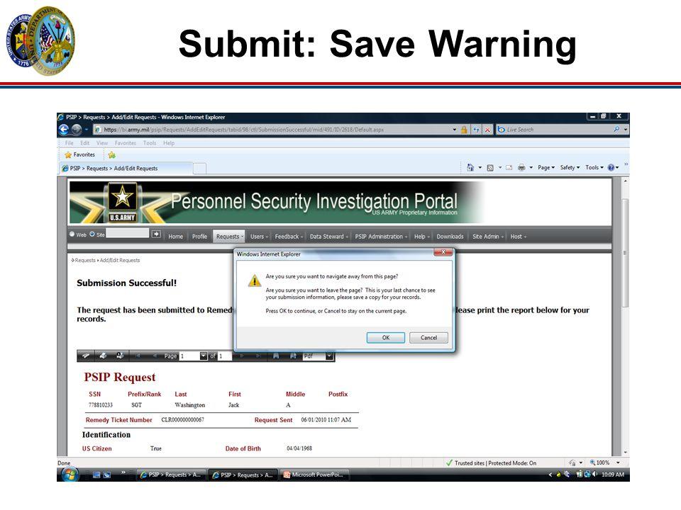 Submit: Save Warning