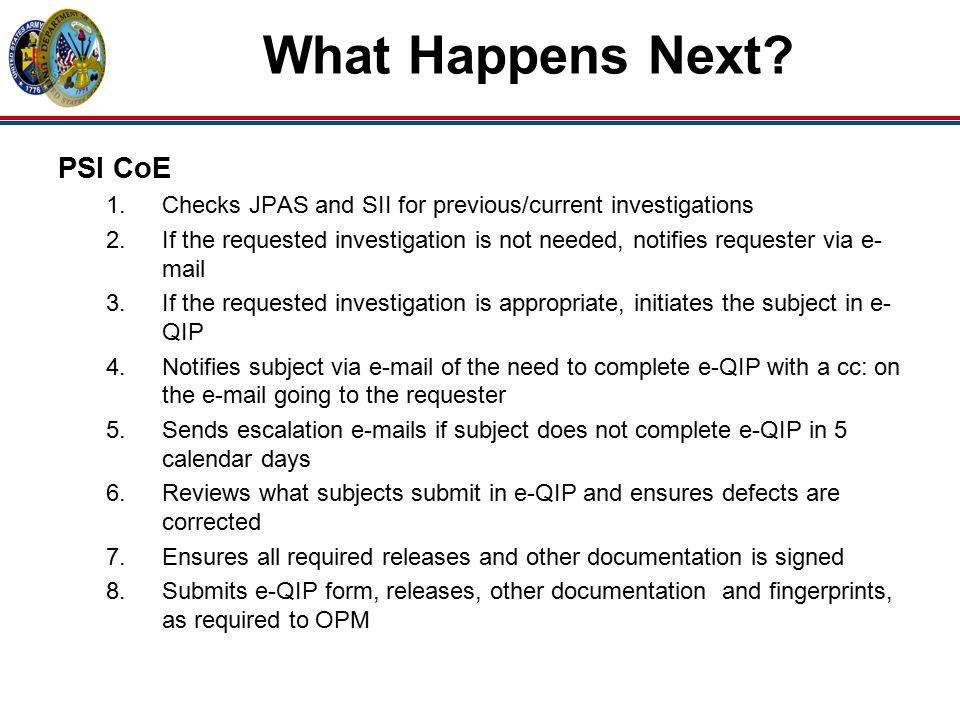 What Happens Next PSI CoE