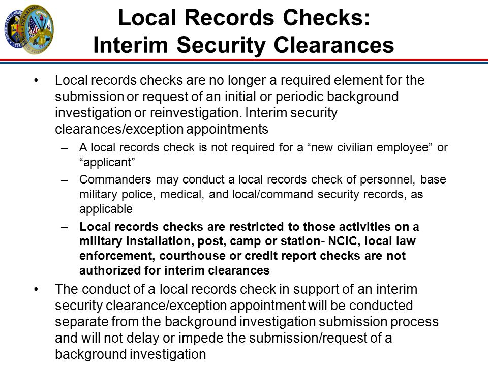 Local Records Checks: Interim Security Clearances