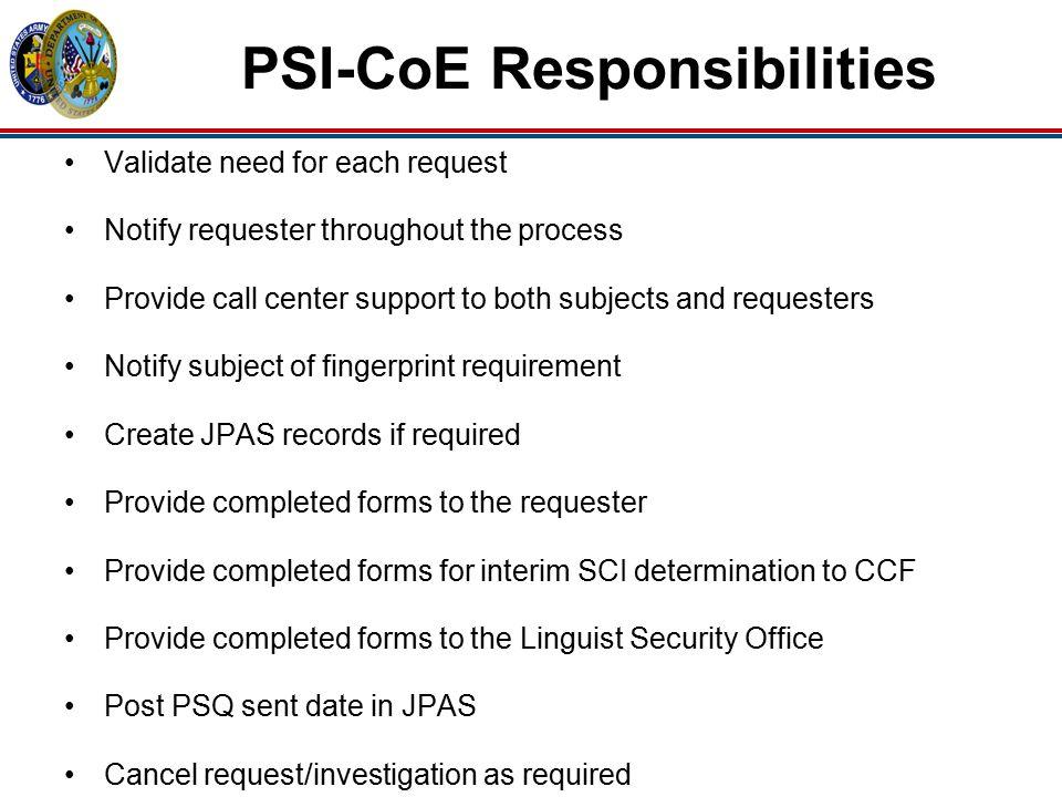 PSI-CoE Responsibilities