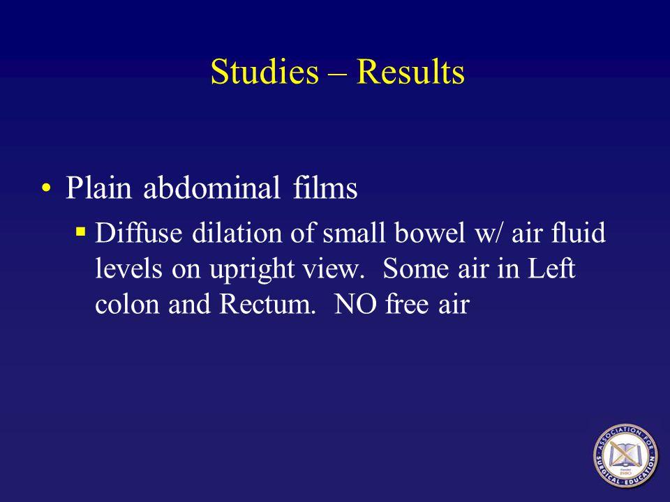 Studies – Results Plain abdominal films