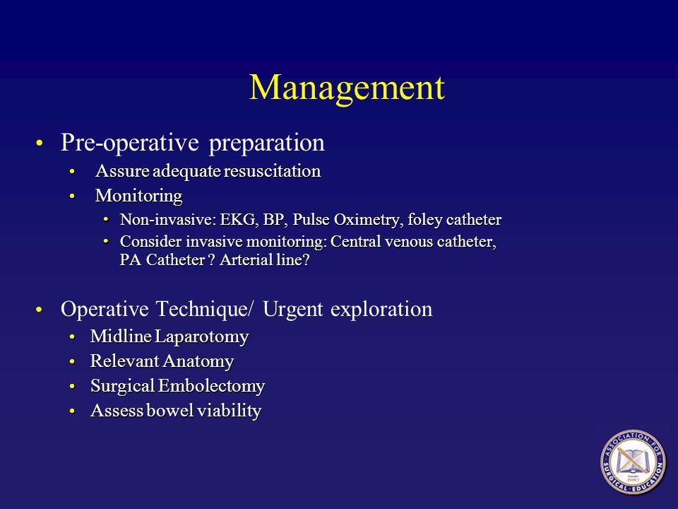 Management Pre-operative preparation
