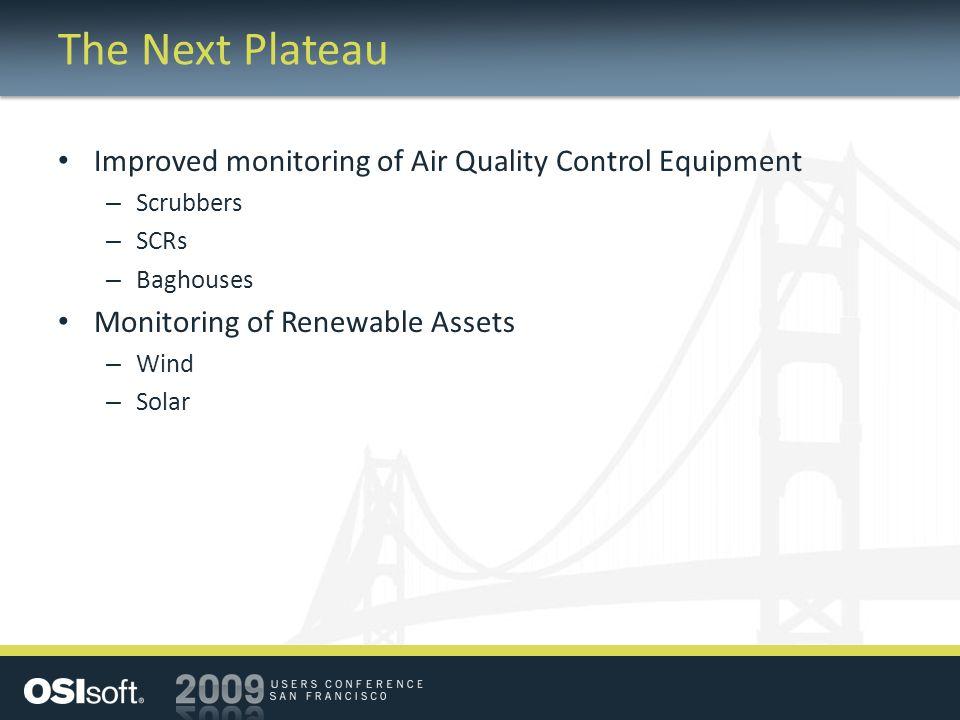 The Next Plateau Improved monitoring of Air Quality Control Equipment