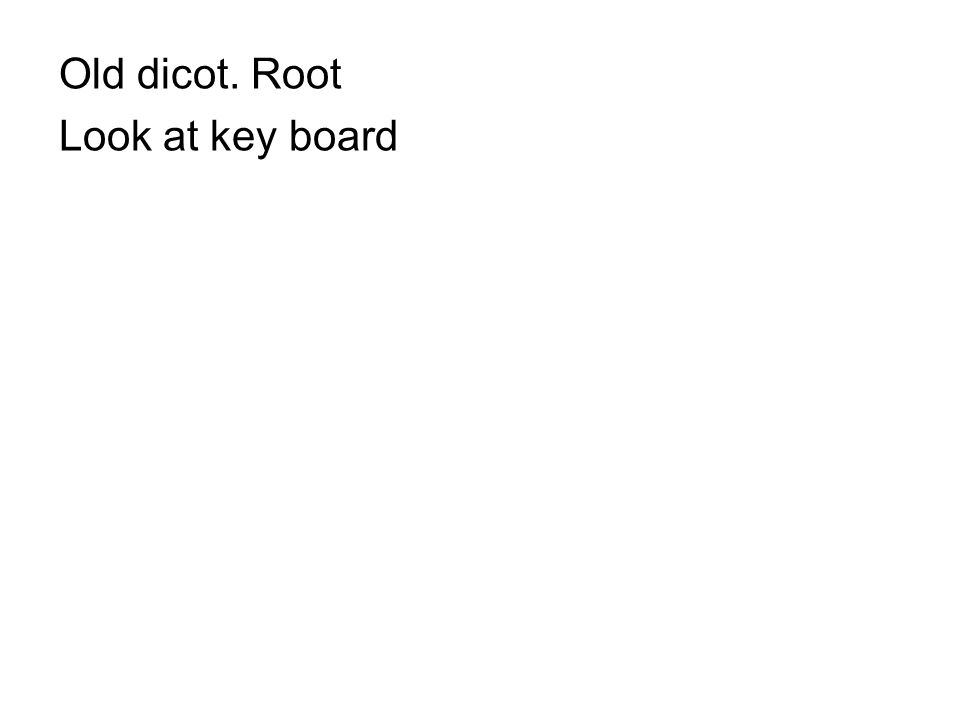 Old dicot. Root Look at key board
