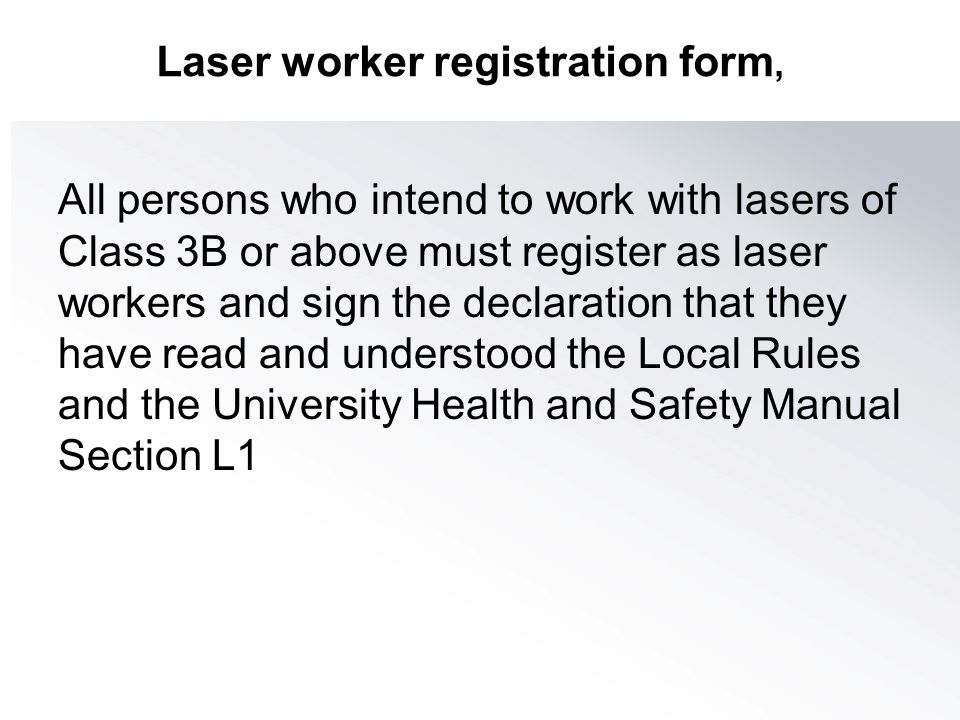 Laser worker registration form,