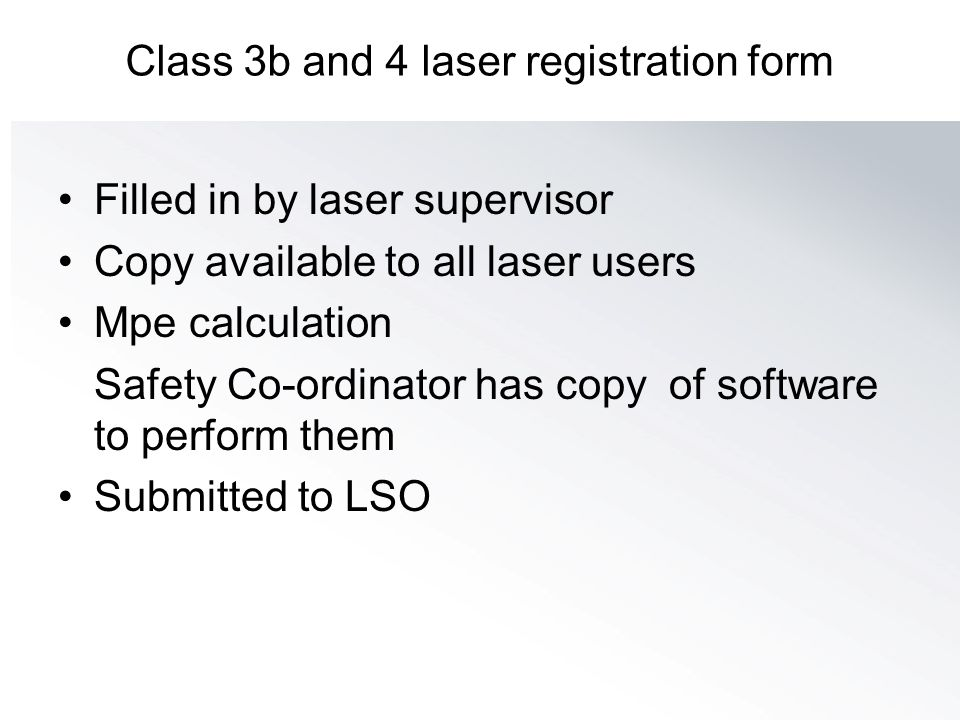Class 3b and 4 laser registration form