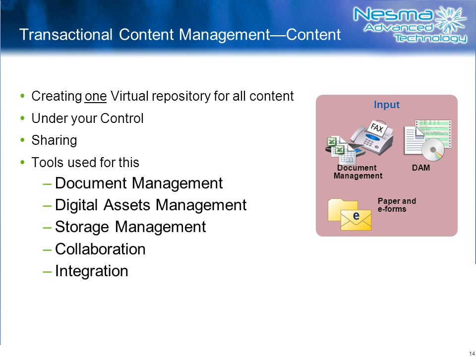 Transactional Content Management—Content