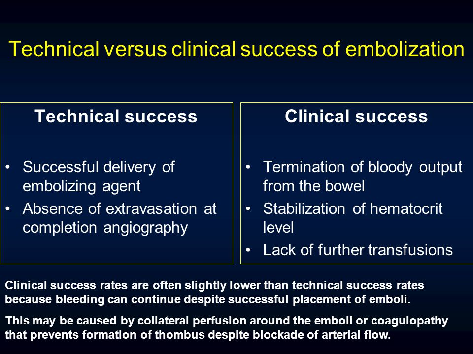 Technical versus clinical success of embolization