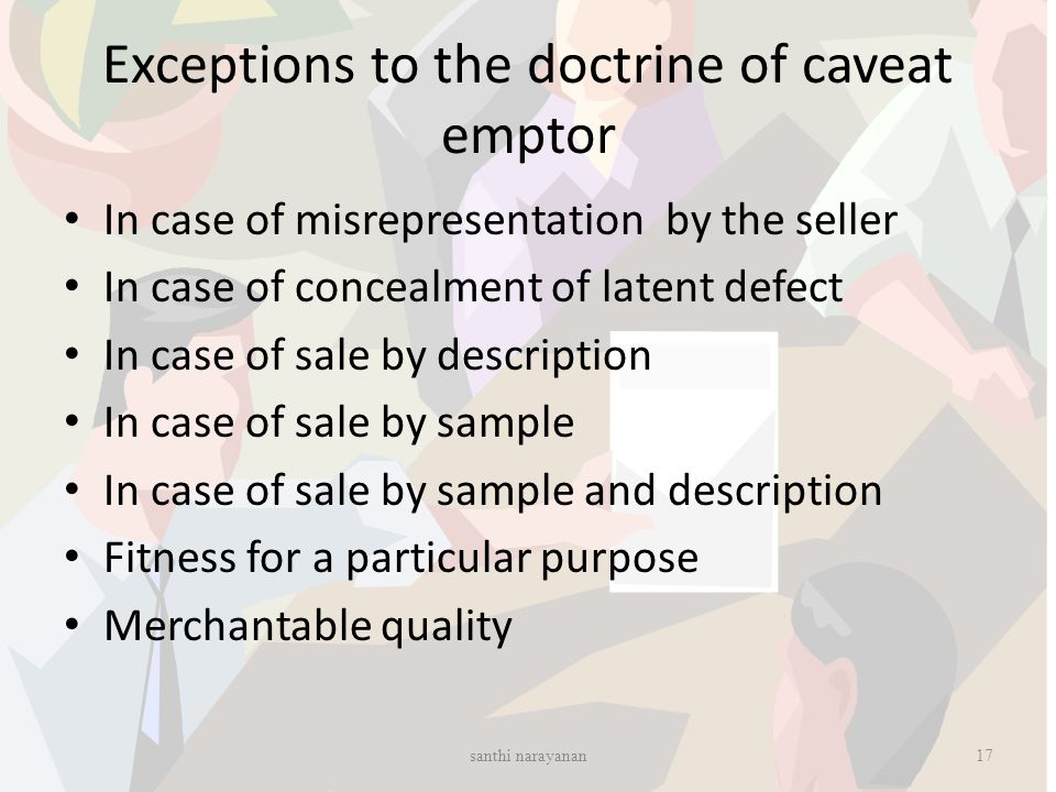 Exceptions to the doctrine of caveat emptor