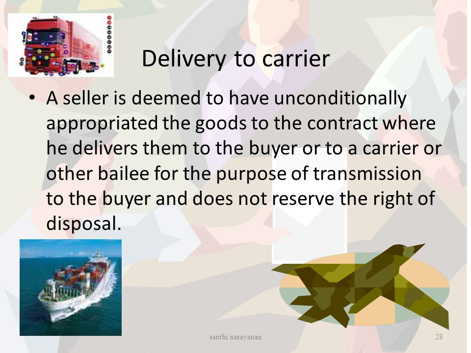 Delivery to carrier