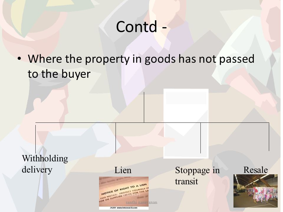 Contd - Where the property in goods has not passed to the buyer