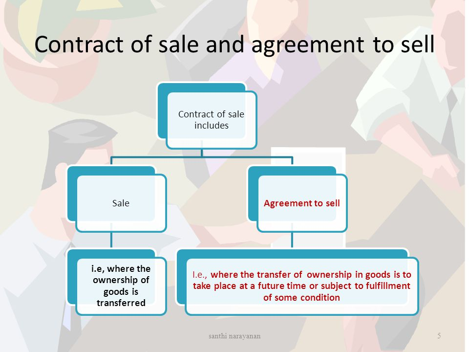 Contract of sale and agreement to sell