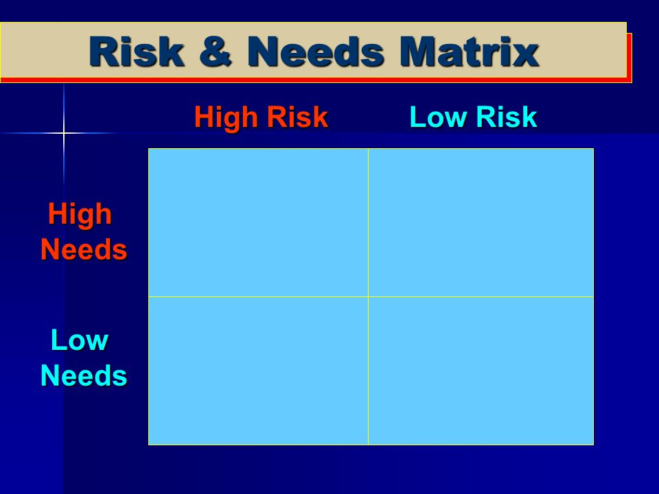 Risk & Needs Matrix High Risk Low Risk High Needs Low Needs