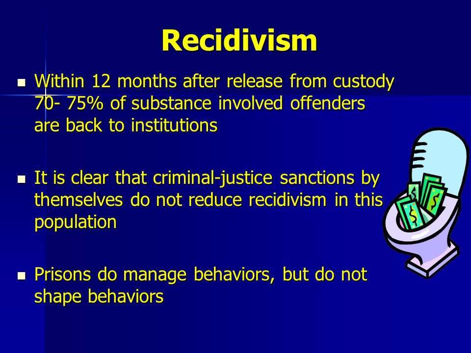Recidivism Within 12 months after release from custody 70- 75% of substance involved offenders are back to institutions.