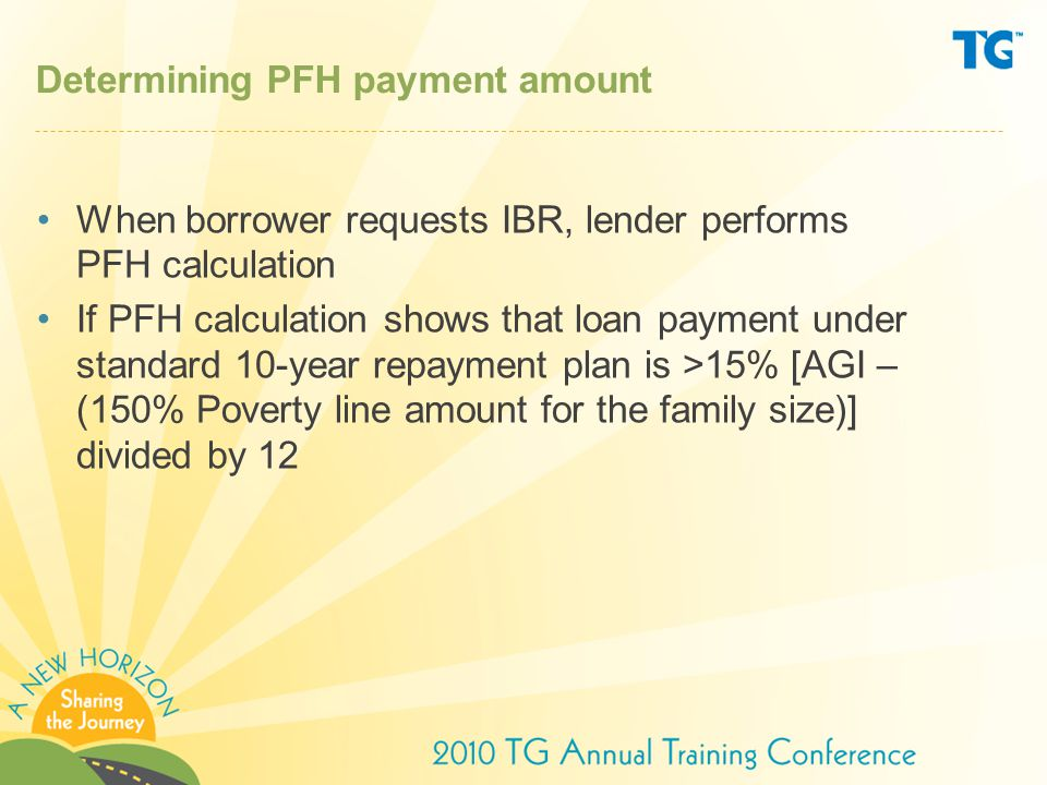 Determining PFH payment amount