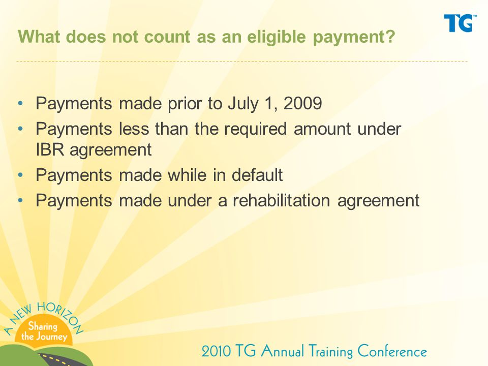 What does not count as an eligible payment