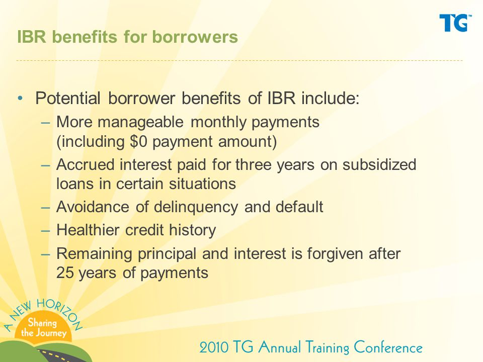 IBR benefits for borrowers