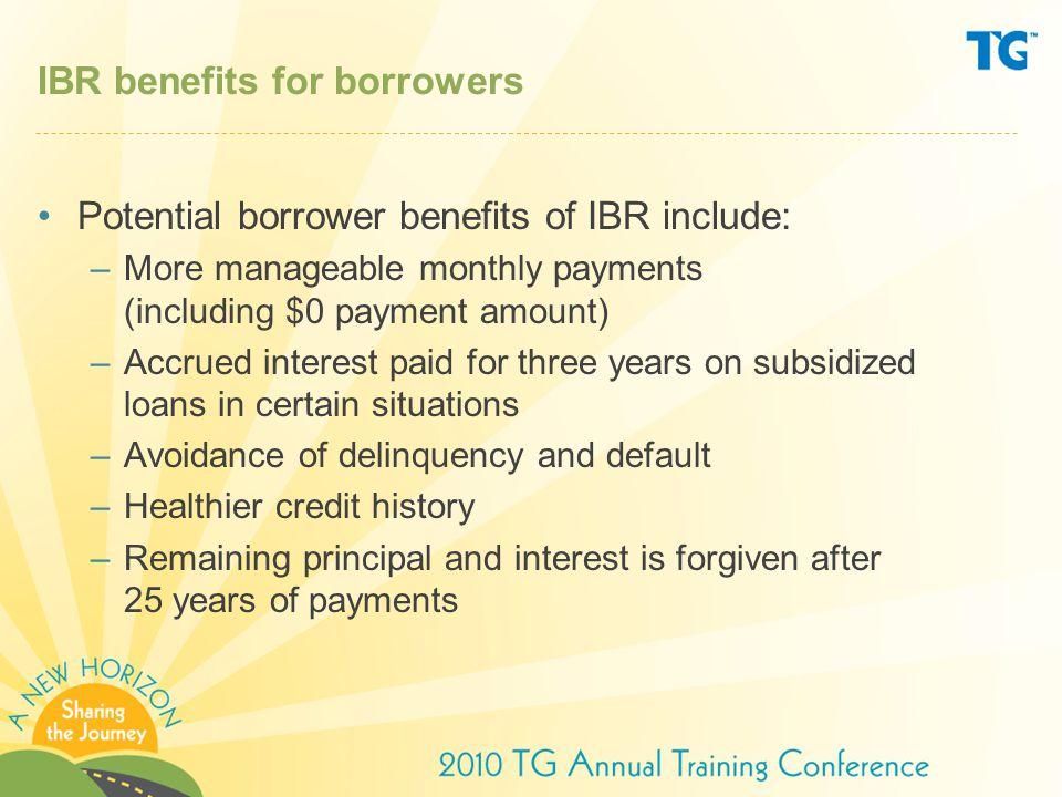 IBR benefits for borrowers