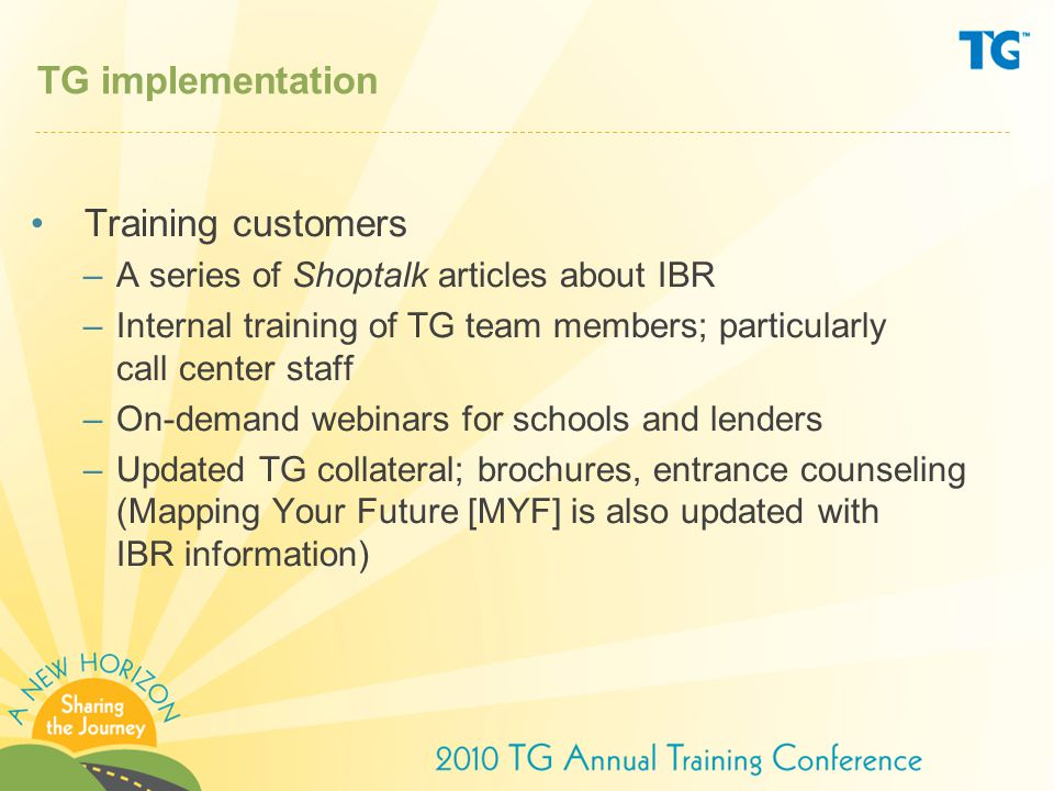 TG implementation Training customers