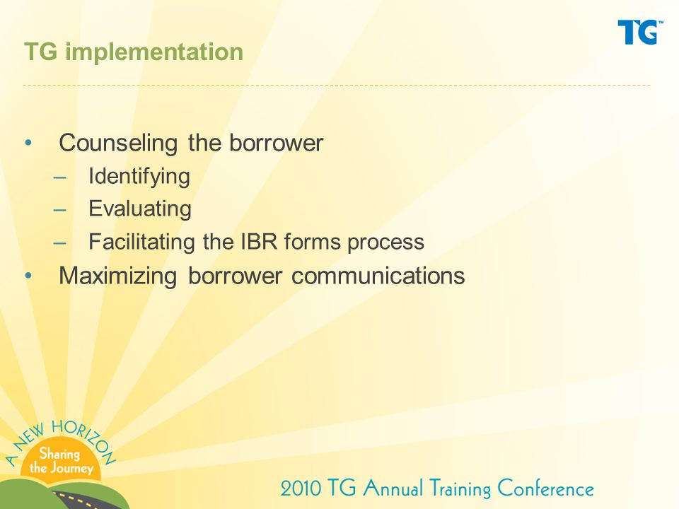 Counseling the borrower