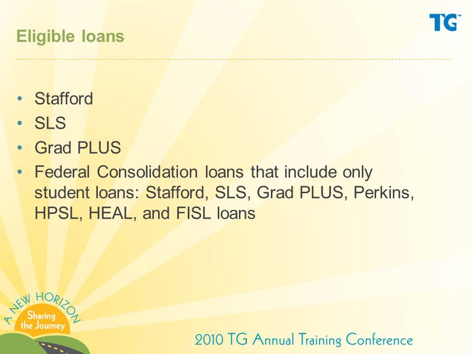 Eligible loans Stafford. SLS. Grad PLUS.