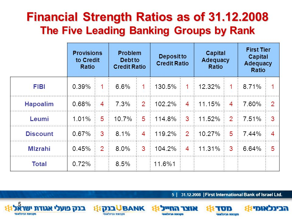 Financial Strength Ratios as of 31.12.2008