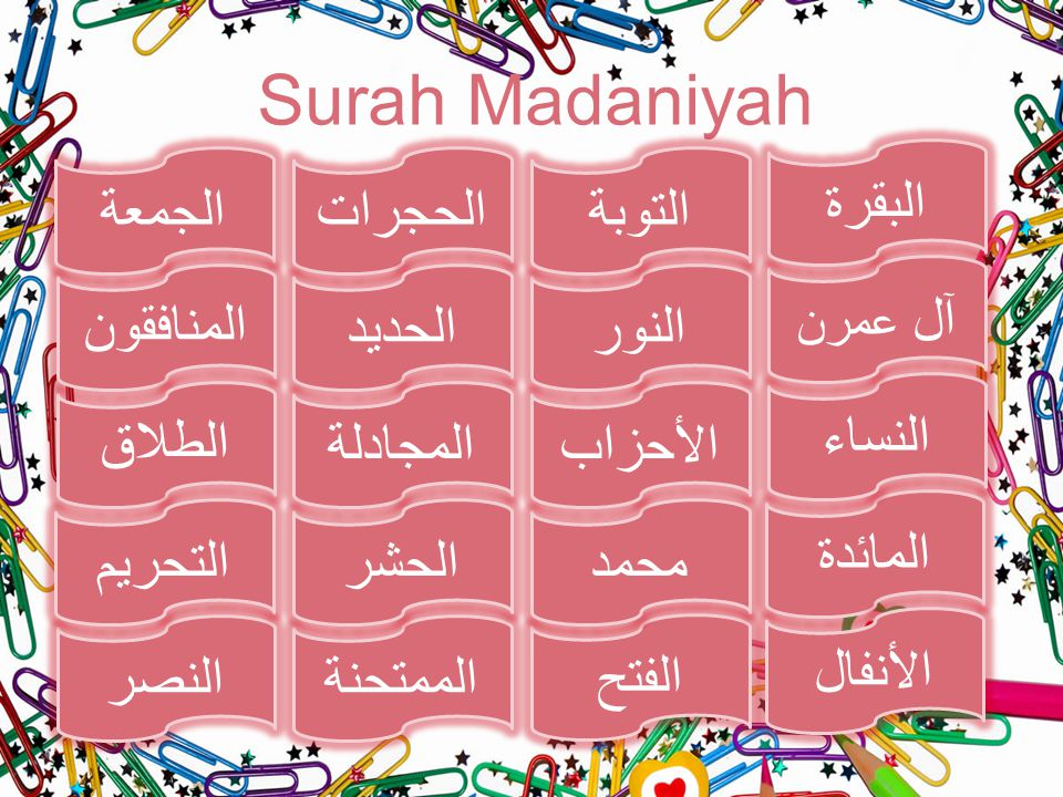Surah Madaniyah البقرة الجمعة الحجرات التوبة آل عمرن المنافقون الحديد