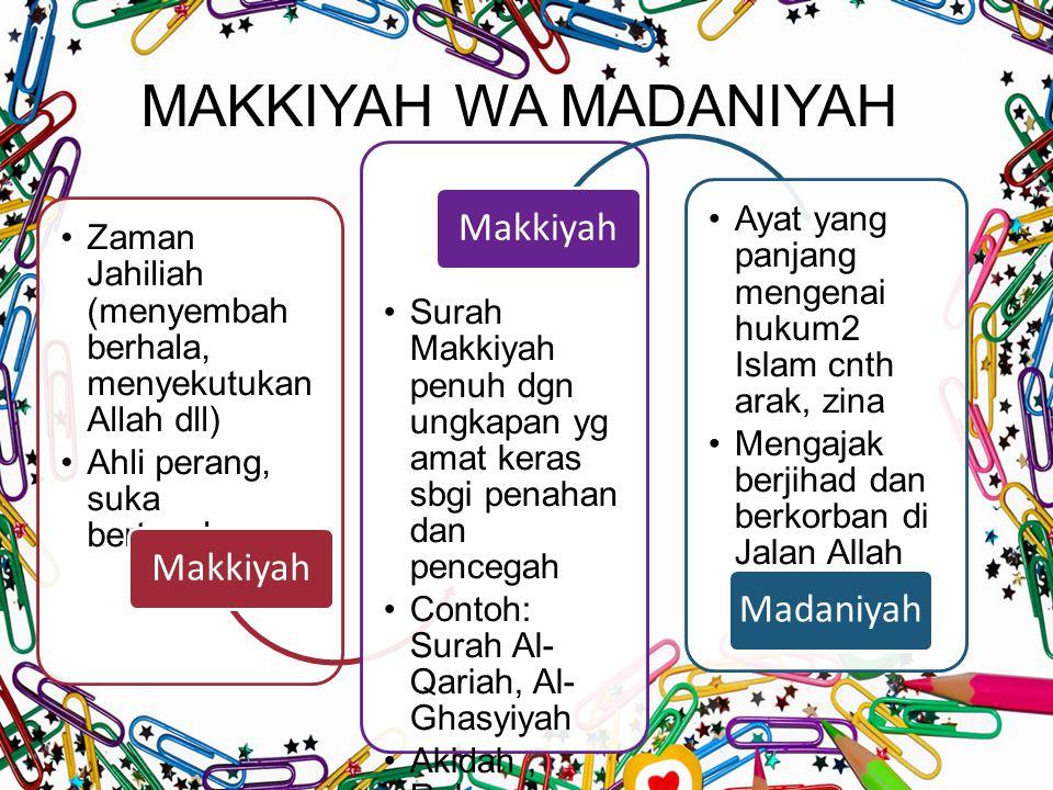 MAKKIYAH WA MADANIYAH Makkiyah Madaniyah