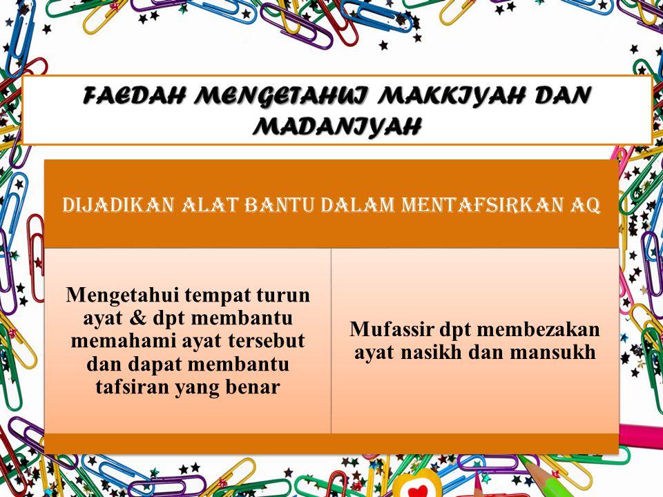 FAEDAH MENGETAHUI MAKKIYAH DAN MADANIYAH