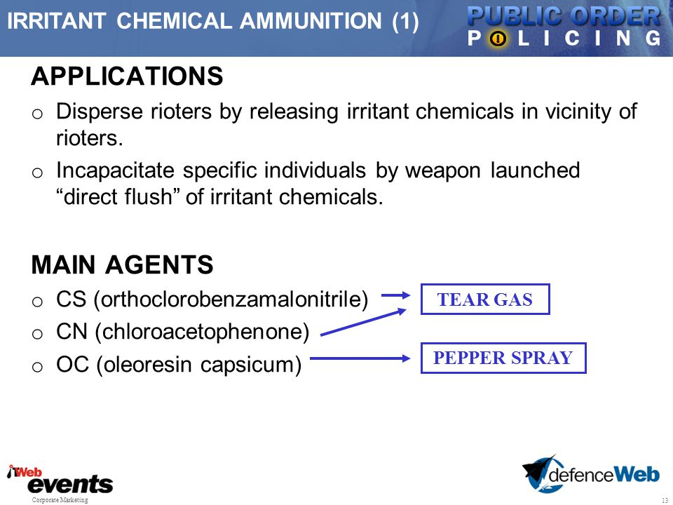 APPLICATIONS MAIN AGENTS IRRITANT CHEMICAL AMMUNITION (1)