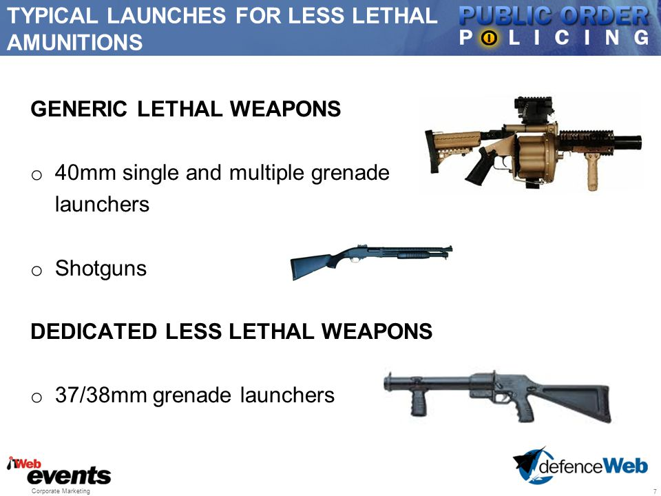 TYPICAL LAUNCHES FOR LESS LETHAL AMUNITIONS