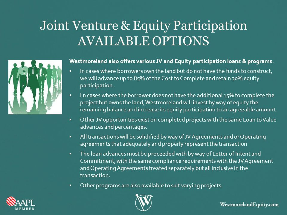 Joint Venture & Equity Participation AVAILABLE OPTIONS