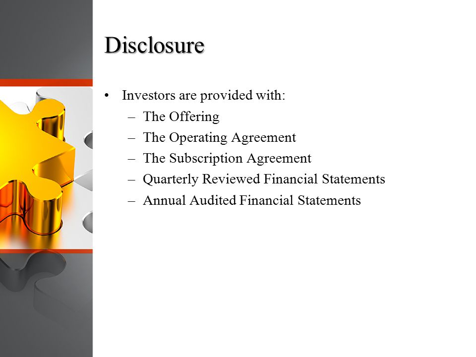Disclosure Investors are provided with: The Offering
