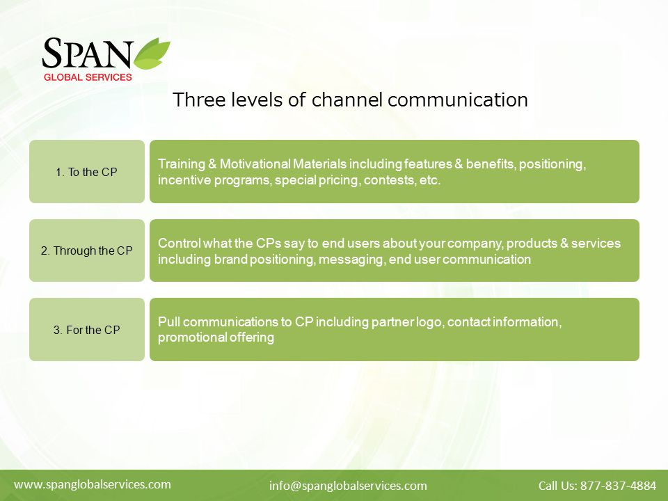 Three levels of channel communication