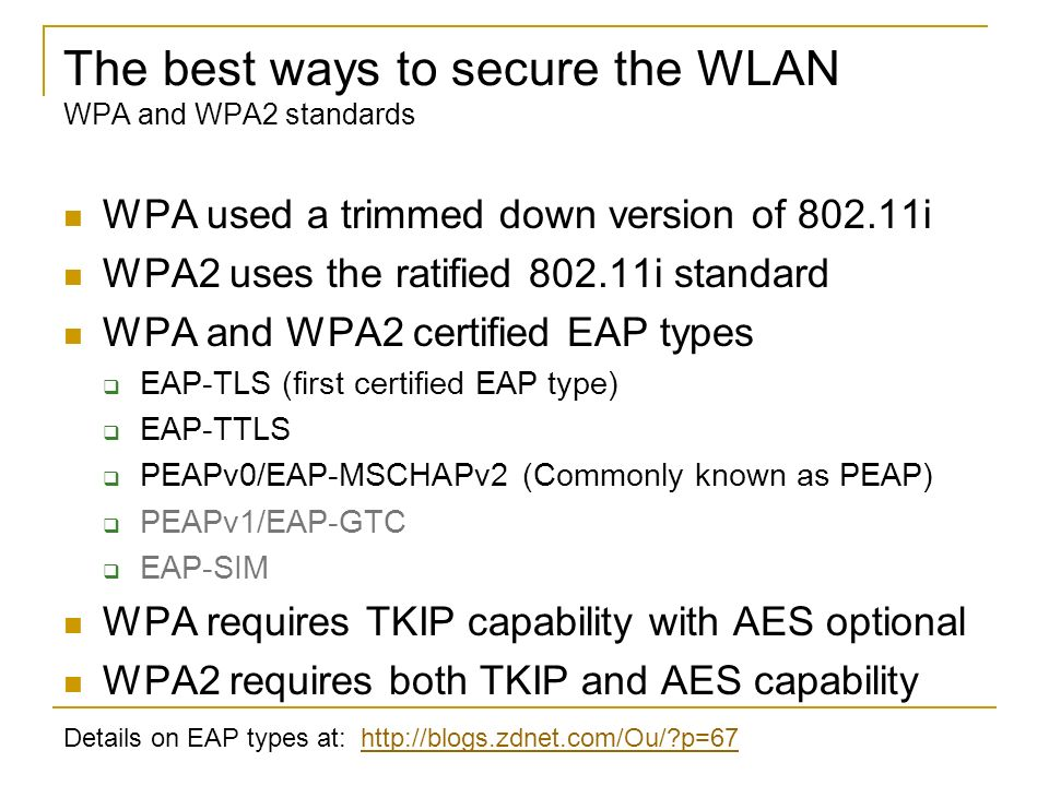 The best ways to secure the WLAN WPA and WPA2 standards