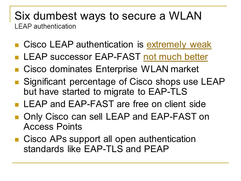 Six dumbest ways to secure a WLAN LEAP authentication