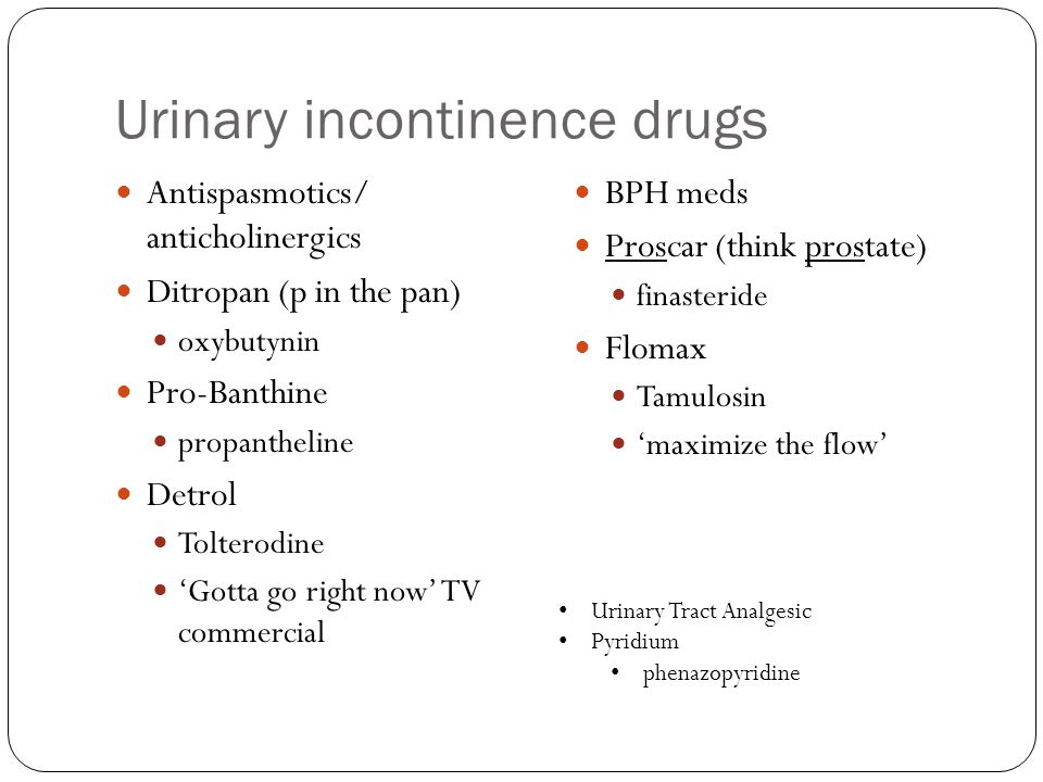 Urinary incontinence drugs
