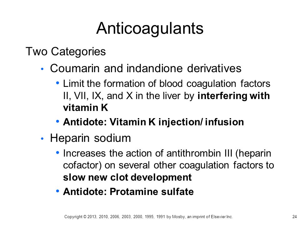 Anticoagulants Two Categories Coumarin and indandione derivatives