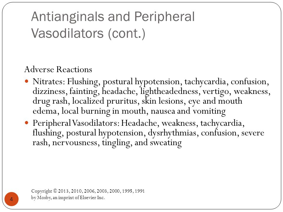 Antianginals and Peripheral Vasodilators (cont.)