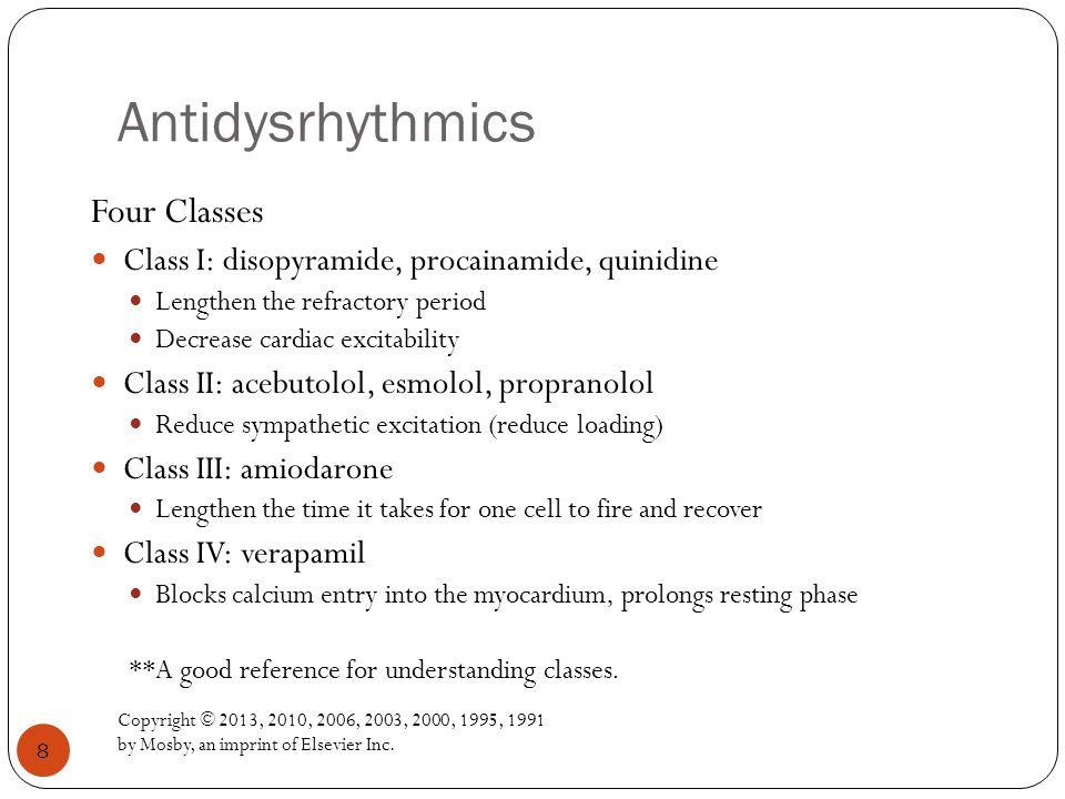 Antidysrhythmics Four Classes