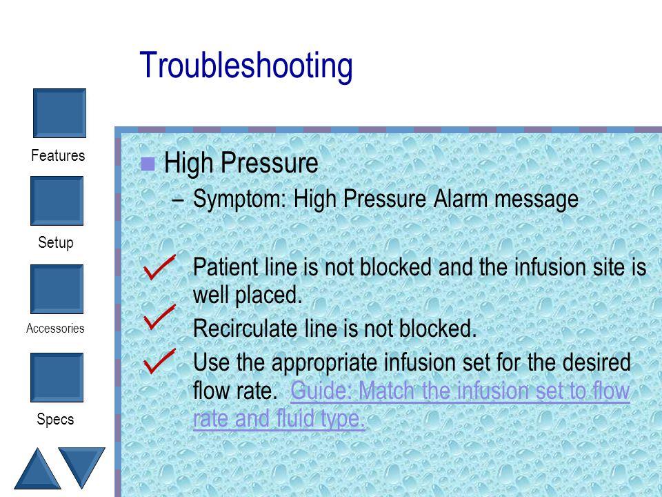 Troubleshooting High Pressure Symptom: High Pressure Alarm message