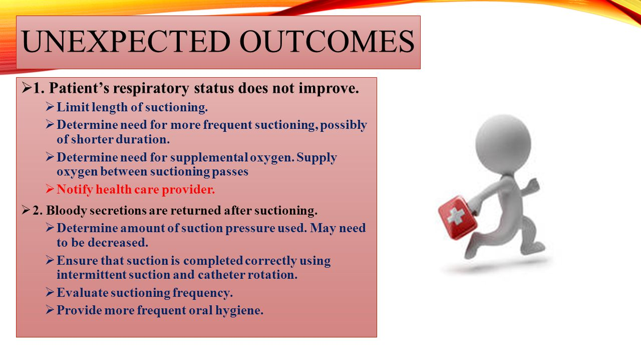 Unexpected outcomes 1. Patient's respiratory status does not improve.
